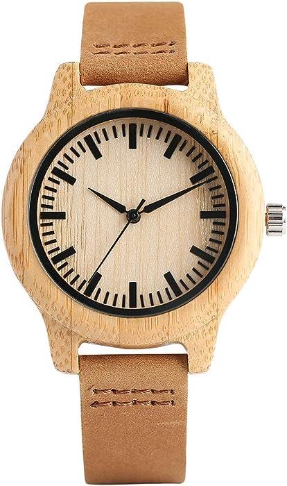 Relojes de Madera para Mujer, Madera Natural con Reloj de Cuarzo Casual de bambú, Pulsera de Cuero de bambú