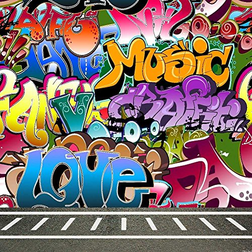 Color Graffiti Text 10' x 10' Digital Printed Photography Backdrop KA Series Background KA001 by GladsBuy