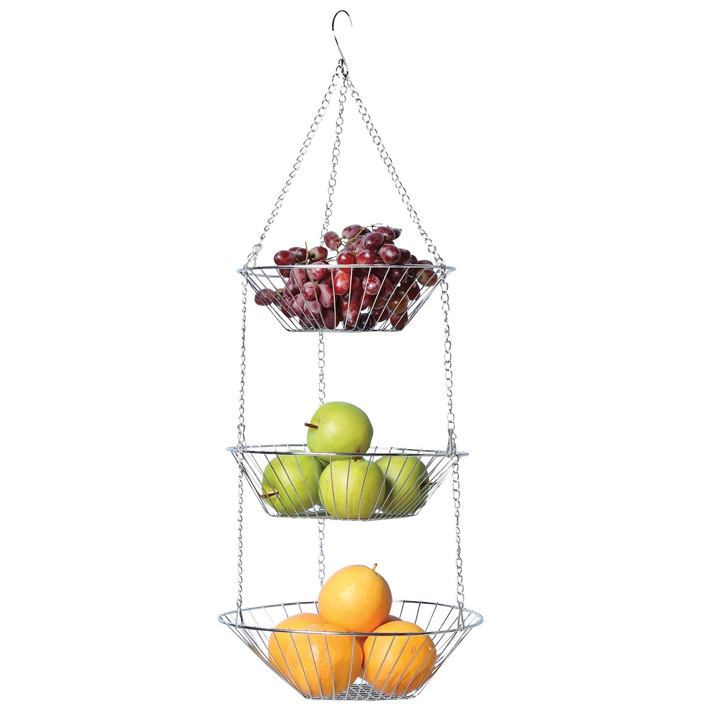 Home District 3-Tier Chrome Hanging Fruit Basket - Wire Food Storage Bowls