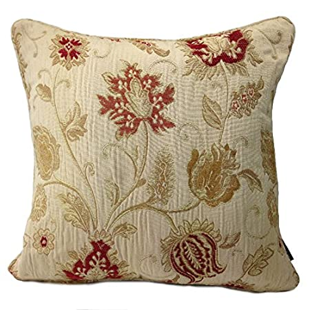 Zurich cushion cover champagne decorative floral jacquard design piped edges reversible