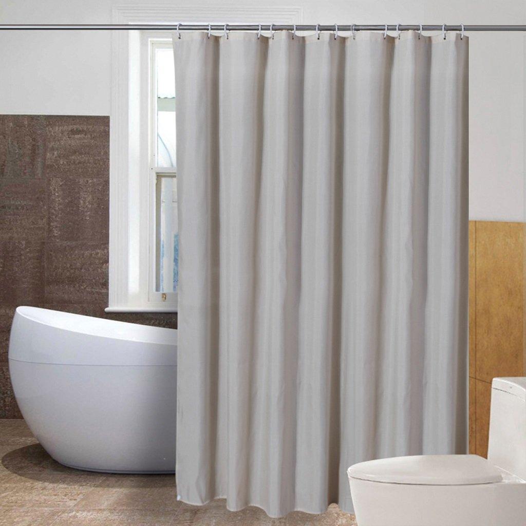 Curtain Beige Pinstripe Polyester Cloth Shower Curtain, Thickening Bathroom Insulation Curtain, Mildew Waterproof Shower Curtain Shower Equipment (Size : 200200cm)