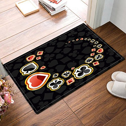 (LB Poker Card Pattern Spades Hearts Diamonds Clovers Decor Rugs for Bathroom Bedroom, Safe Non Slip Rubber Backing Soft Surface, Card Game Theme Print Rug 15 x 23 Inches)