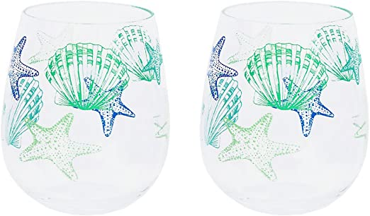 Latitude 25247 Set of 2 Seashell and Starfish Shatter-Resistant Stemless Wine Glasses 18 oz