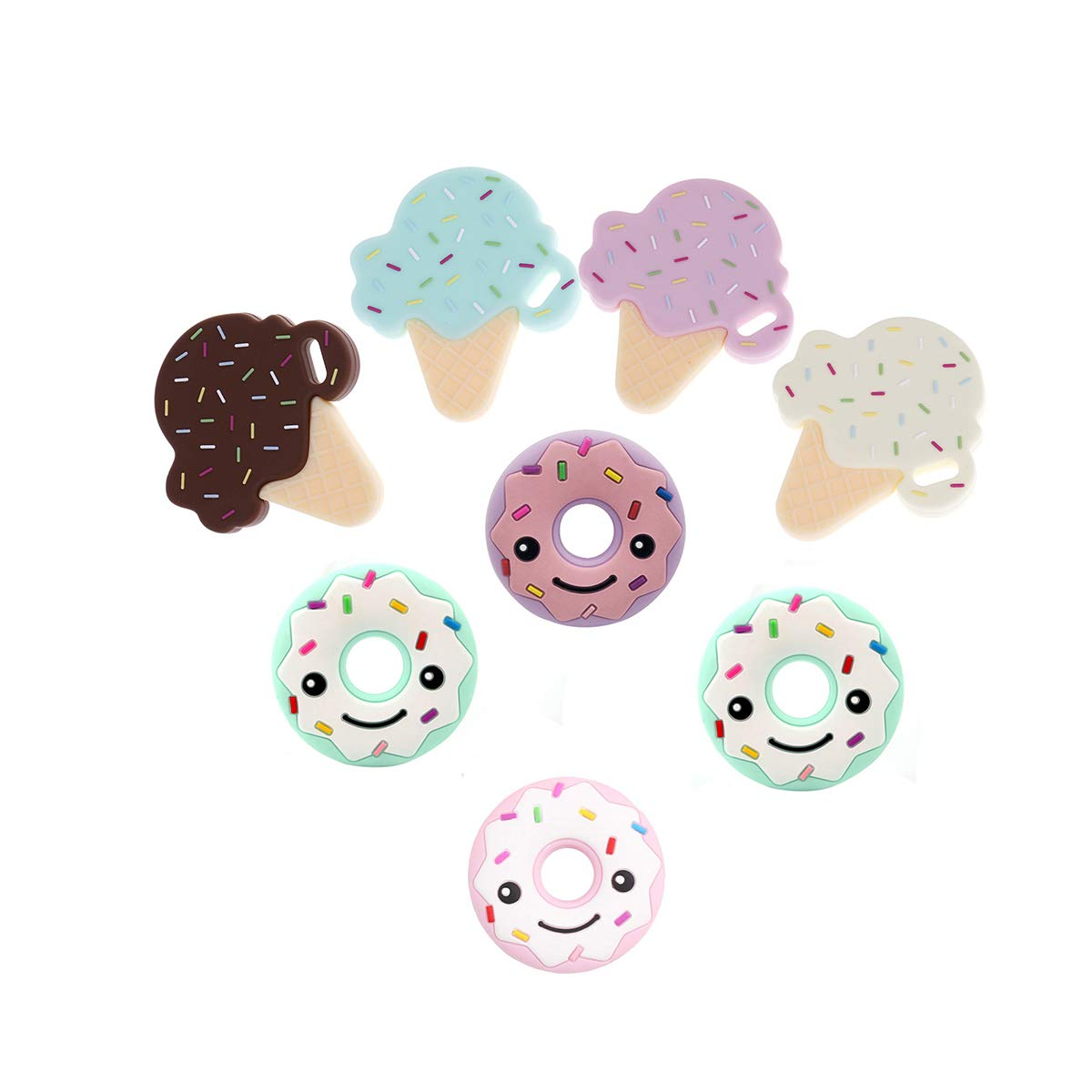 Baby Silicone Teether Pendant Teething Accessory Doughnut ice-cream Toys 8pc Colorful Chewing Beads by Biter teether