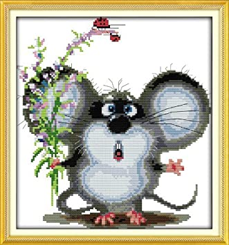 Preprinted Embroidery kit for Beginner D220 Big Ears Mouse, Size 12x13 Happy Forever Cross Stitch Kits 11CT Stamped Patterns for Kids and Adults Cute Animals 6