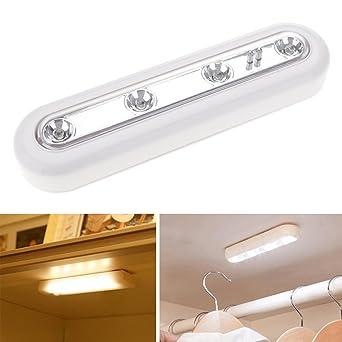kompassswc Armoire Lampe 4 LED Touch Sensor de cuisine Lampe  piles