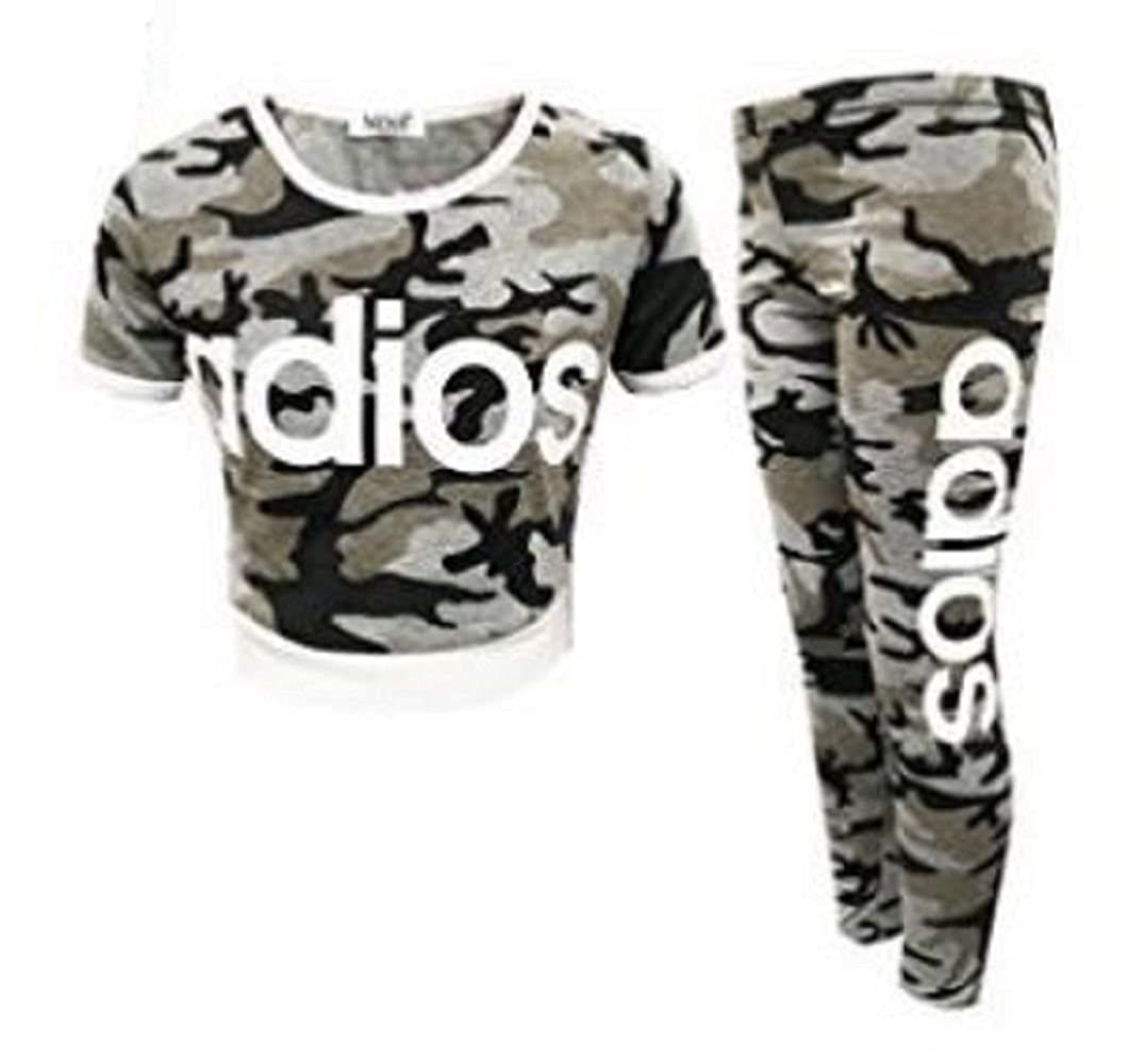 ZEE FASHION New Kids Girls Adios Camouflage Military Army Crop Top /& Legging Age 7-13 Years