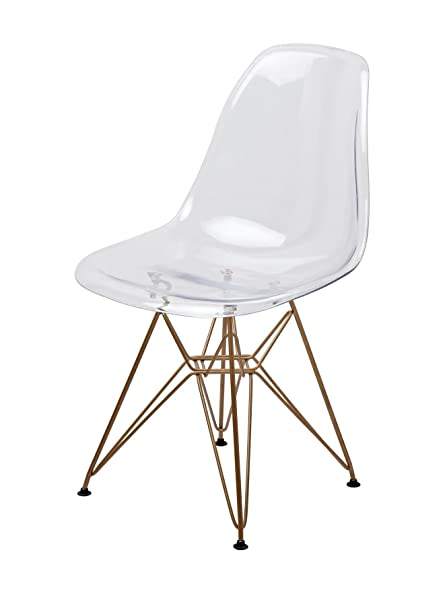 Mid Century Modern Eames Style DSR Clear Side Chair With Gold Eiffel Base