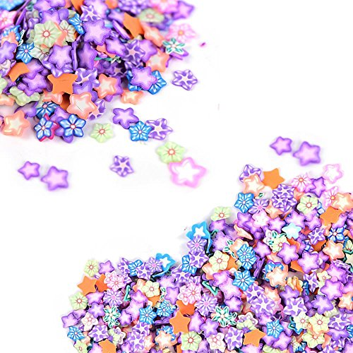 Fimo Star (2000 Pcs Star Fimo Slices for Slime,DIY Crafts,polymer clay canes Nail Art Decorations Slices by HONGTIAN)