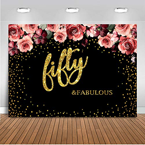Mocsicka Fifty Birthday Background 8X6ft Vinyl Backdrops Gold Dots Decoration Background Adult Birthday Photography Portrait -