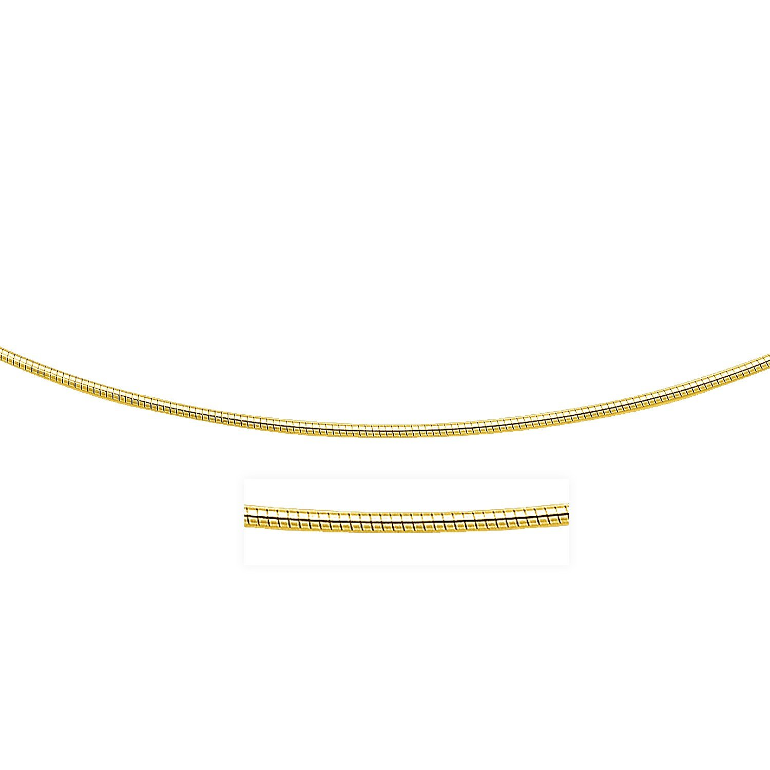 14K Yellow Gold Necklace in a Round Omega Chain Style by Jewels By Lux