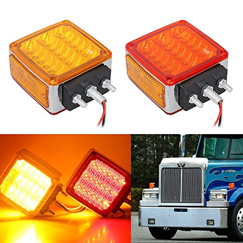 Light Signal Assembly Park (TOPPOWER 39LED Side Marker Light Amber&Red Double Face Stud Mount Cab Fender Marker Light Stop Turn Signal Light waterproof 12V Tail lights for Peterbilt Freightliner Kenworth Mack Western Star(2Pcs))