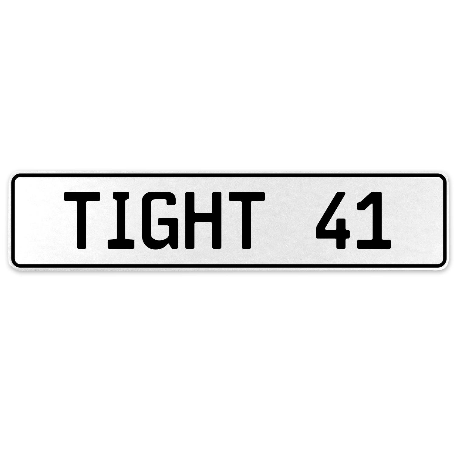 Vintage Parts 554737 Tight 41 White Stamped Aluminum European License Plate
