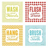 Kids Bathroom Decor Hang Your Towel', 'Flush When Done,' 'Brush Your Teeth' and 'Wash Your Hands'; Perfect for Any Kid's Bathroom; Four 8x8in Poster Prints