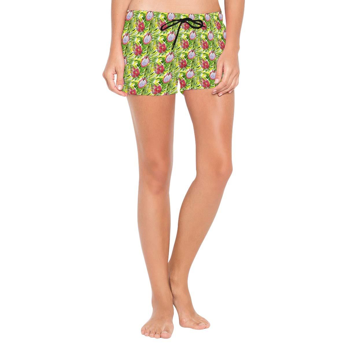 Womens Fashion Summer Leaves Palm Pitaya Pattern Beach Shorts Casual Short Pants