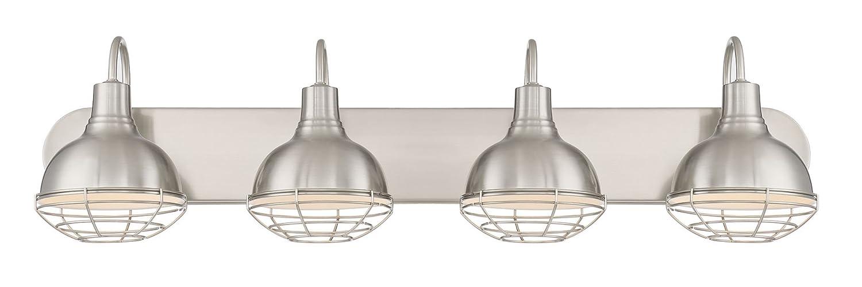 "Kira Home Liberty 36"" 4-Light Modern Industrial Vanity/Bathroom Light, Brushed Nickel Finish"