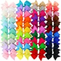 3.5 inches Baby Girls Pinwheel Ribbon Hair Bows With Alligator Clips For Teens Kids Children 40 colors