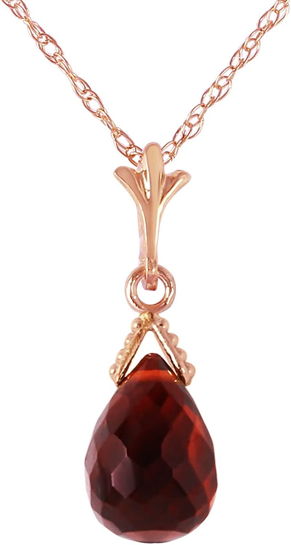 14K Solid Gold Necklace with Briolette Garnet