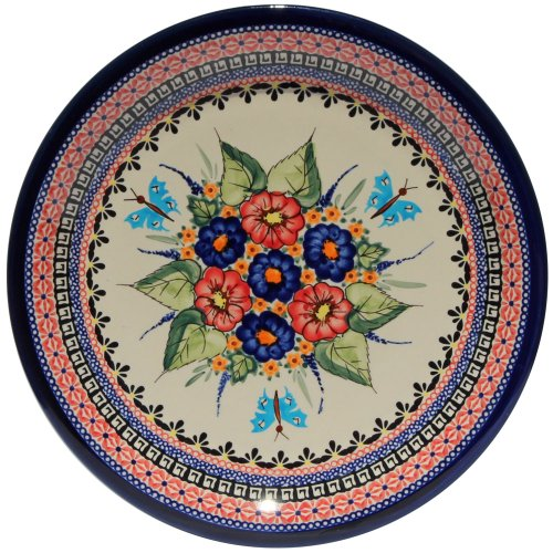 Polish Pottery Dinner Plate 10.75 Inch From Zaklady Ceramiczne Boleslawiec #1014-149 Art Signature Unikat Pattern, Diameter 10.75
