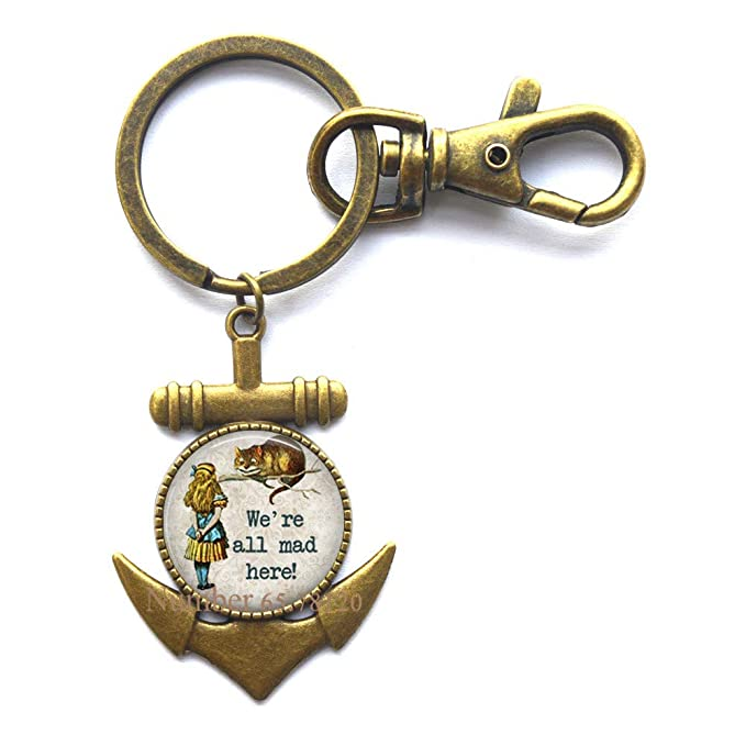 Amazon.com: WereAll Mad Here Charm Key Ring Anchor Keychain ...