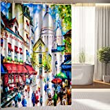 """Colorful Painting of Sacre Coeur and Montmartre In Paris Waterproof Polyester Fabric Shower Curtain 66 """"x 72"""""""