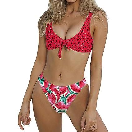 ec5a617c31942 Image Unavailable. Image not available for. Color: BabiQ Women's Watermelon  Print Bathing Suit Bikini Set 2 Pieces Swimsuits (L ...