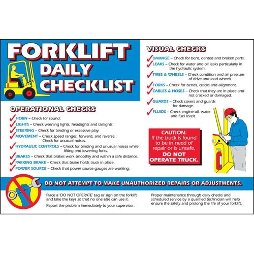 - Brady 105633, Forklift Daily Checklist Poster, (Pack of 3 pcs)
