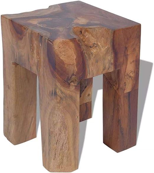 vidaXL 243471 Teak Massivholz Hocker Sitzhocker Fußhocker Beistelltisch 30x30x40cm Holz, One Size