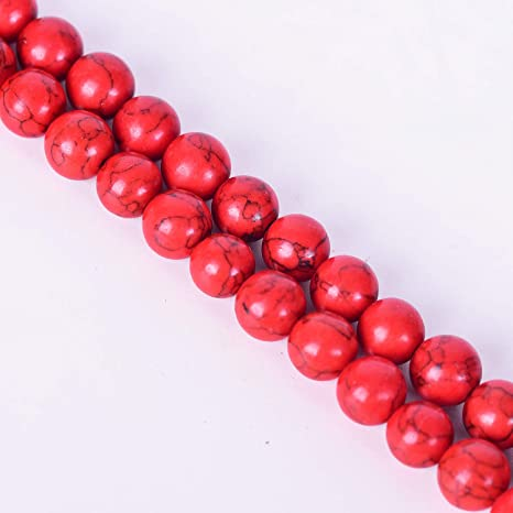 1Strand Gemstone Man-made Red Turquoise Stone Loose Beads DIY Crafts Accessories