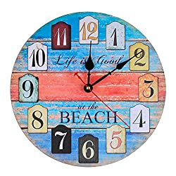 KI Store Silent Wall Clock Non Ticking Vintage Rustic Wooden Decorative Ocean Theme World Clocks (12, Beach)