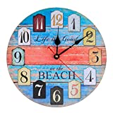 KI Store Silent Wall Clock Non Ticking Vintage Rustic Wooden Decorative Ocean Theme World Clocks (12