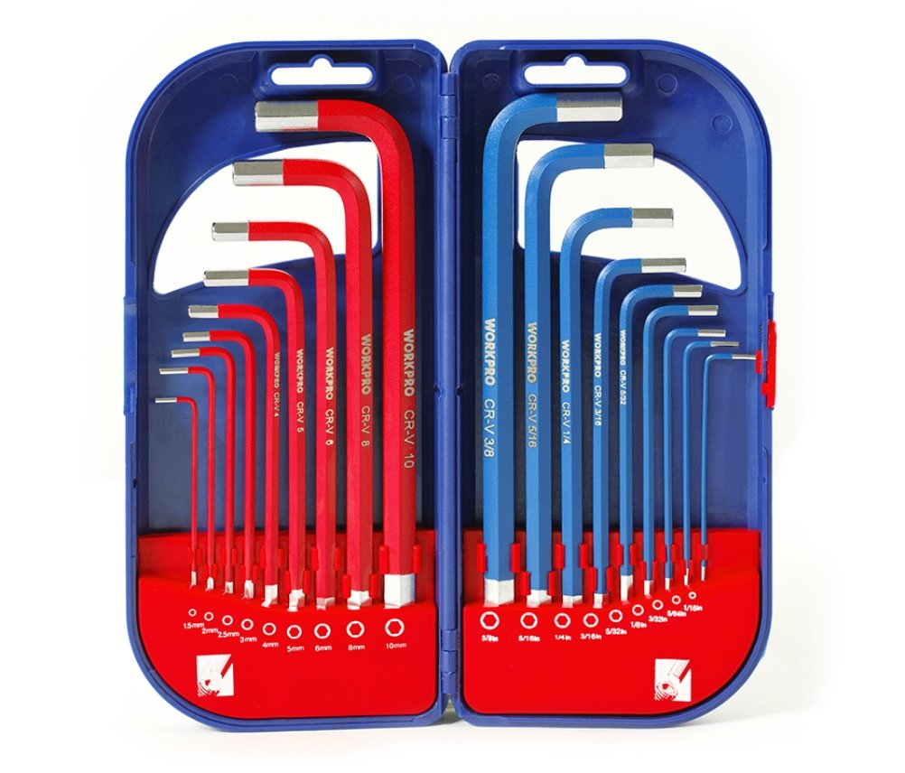 WORKPRO W022011A Hex Key Set, Metric/Imperial Allen Keys Set, Combined Long Arm Hexagon Key Set, 18-Piece, 1.5-10 mm and 1/16-3/8 Inch with Carry Case