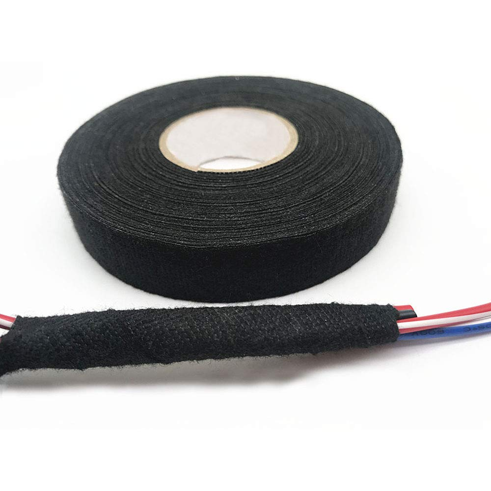 Adecco Llc 2 Rolls Wire Loom Harness Tape Wiring Cloth Auto Adhesive Fabric For Automobile 15m 19mm