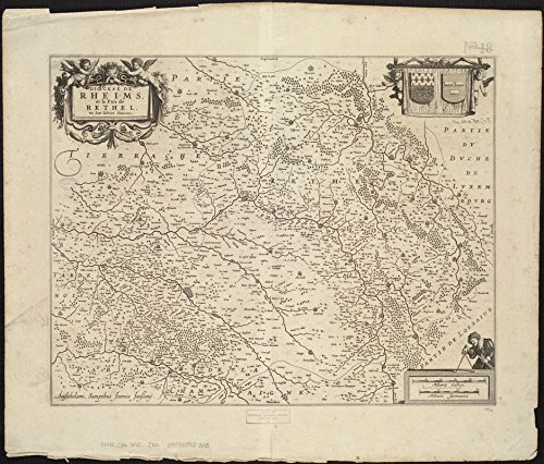 Historic Map | 1645 Dioecese de Rheims, et le paiIˆs de Rethel | Antique Vintage Reproduction by historic pictoric