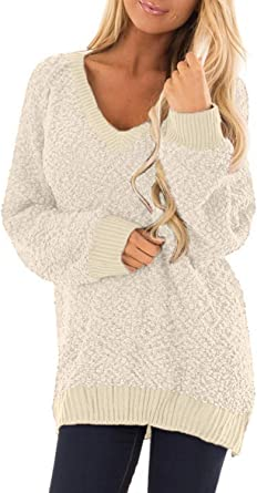 Malaven Women Sweaters Off The Shoulder Knit Stretchable Sweater Casual Sleeve