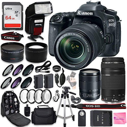 Canon EOS 80D DSLR Camera Quadruple Lens Photographer PRO BUNDLE + Canon EF-S 18-135mm f3.5-5.6 + Canon EF 75-300mm f4-5.6 III + .43 Wide Angle & 2.2 Telephoto Lens + Filter Kit + 64GB Card + CW Cloth