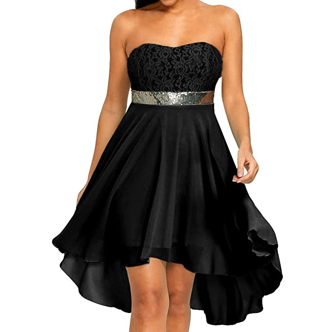 b208d02e46 Minisoya Women Casual Lace Sequin Off Shoulder Strapless Irregular Cocktail  Bridesmaid Swing Dress Prom Party Ball