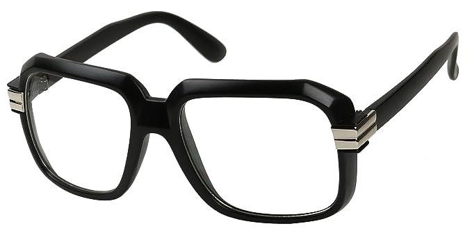 304ff323c16 Amazon.com  Basik Eyewear - Big Hipster Retro 80 s MC Rapper Clear Lens Hip  Hop Eye Glasses (Black w  Silver