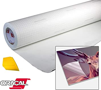 Amazon Com Oracal High Gloss Self Adhesive Clear Lamination Vinyl Roll For Die Cutter And Plotter Machines Including Yellow Detailer Squeegee 12 X 25ft Office Products