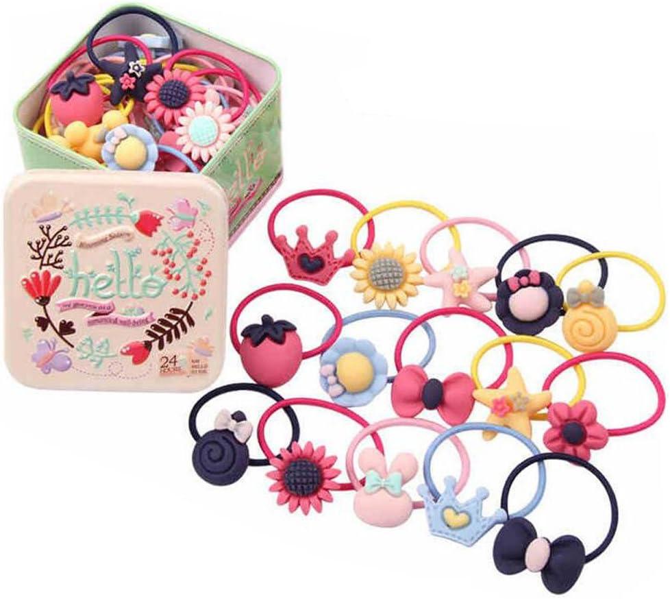 22 piezas bebé niñas Cute dibujos animados pelo lazos elásticos bandas de lazos para el pelo titulares Ponytail titulares cabeza bandas cuerdas gomas para el pelo accesorios