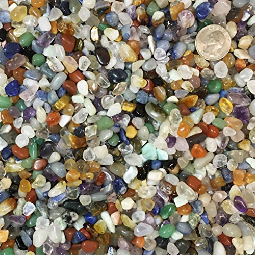 Stone Chip (One Pound Natural Extra Small Tumbled Stones Chips from Brazil - Crystals Amethyst, Quartz, Citrine, Sodalite, Tiger Eye, Aventurine, Rose Quartz, and more!)
