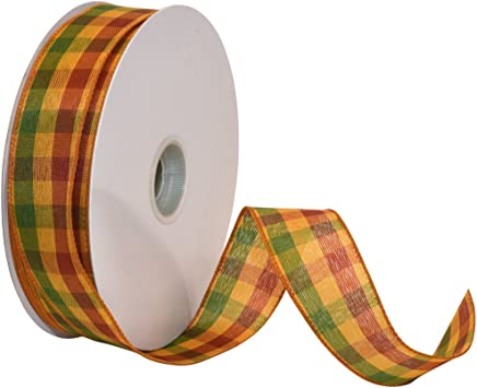 Reliant Ribbon Planters Plaid Value Wired Edge Ribbon 1-1//2 Inch X 50 Yards Multi