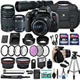 Canon EOS Rebel T6i DSLR Camera with Canon EF-S 18-55mm f/3.5-5.6 IS STM Lens + Canon EF 75-300mm f/4-5.6 III Lens + 500mm Preset Lens + 2x Memory Cards + 50 Tripod + Accessories Bundle (25 Items)