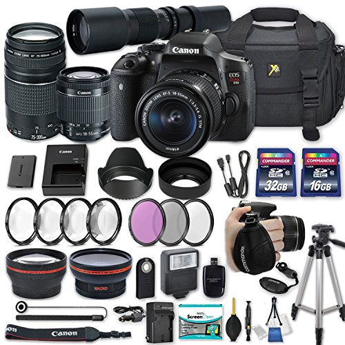 Canon EOS Rebel T6i Camera with Canon EF-S 18-55mm f/3.5-5.6 is STM Lens + Canon EF 75-300mm f/4-5.6 III Lens + 500mm Preset Lens + 2X Memory Cards + 50″ Tripod and Accessories Bundle (25 Items) For Sale