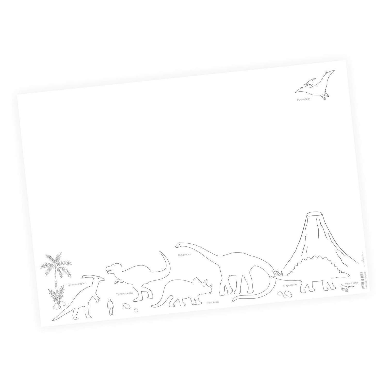 Sottomano per bambini Dinosauri con vulcano – 25 fogli di carta da strappare, A2 – T-Rex Triceraptor Stegosaurus – regalo per compleanno o scuola nikima Schönes für Kinder