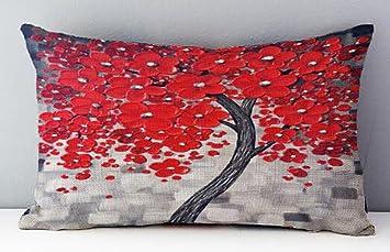 Amazon.com: Pintura al óleo el Árbol grande rojo Hojas ...