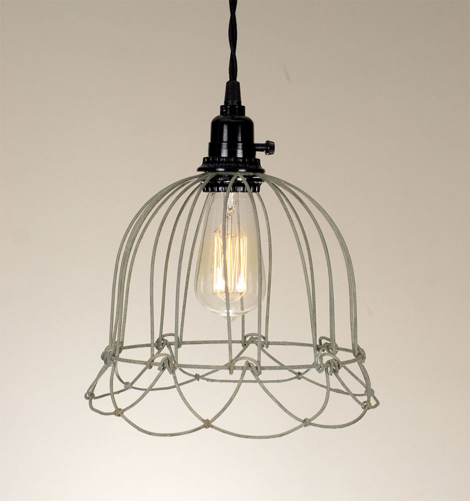 Wire Bell Pendant Lamp in Barn Roof Finish - Ceiling Pendant ...