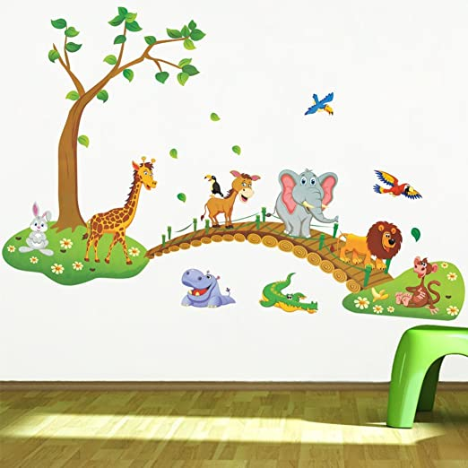 Wall decals Kids Train with Pets travellers zoo wall stickers