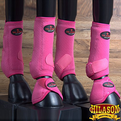 6 PACK HILASON WESTERN HORSE FRONT REAR HIND SPORT BOOT BELL BOOT PINK by HILASON