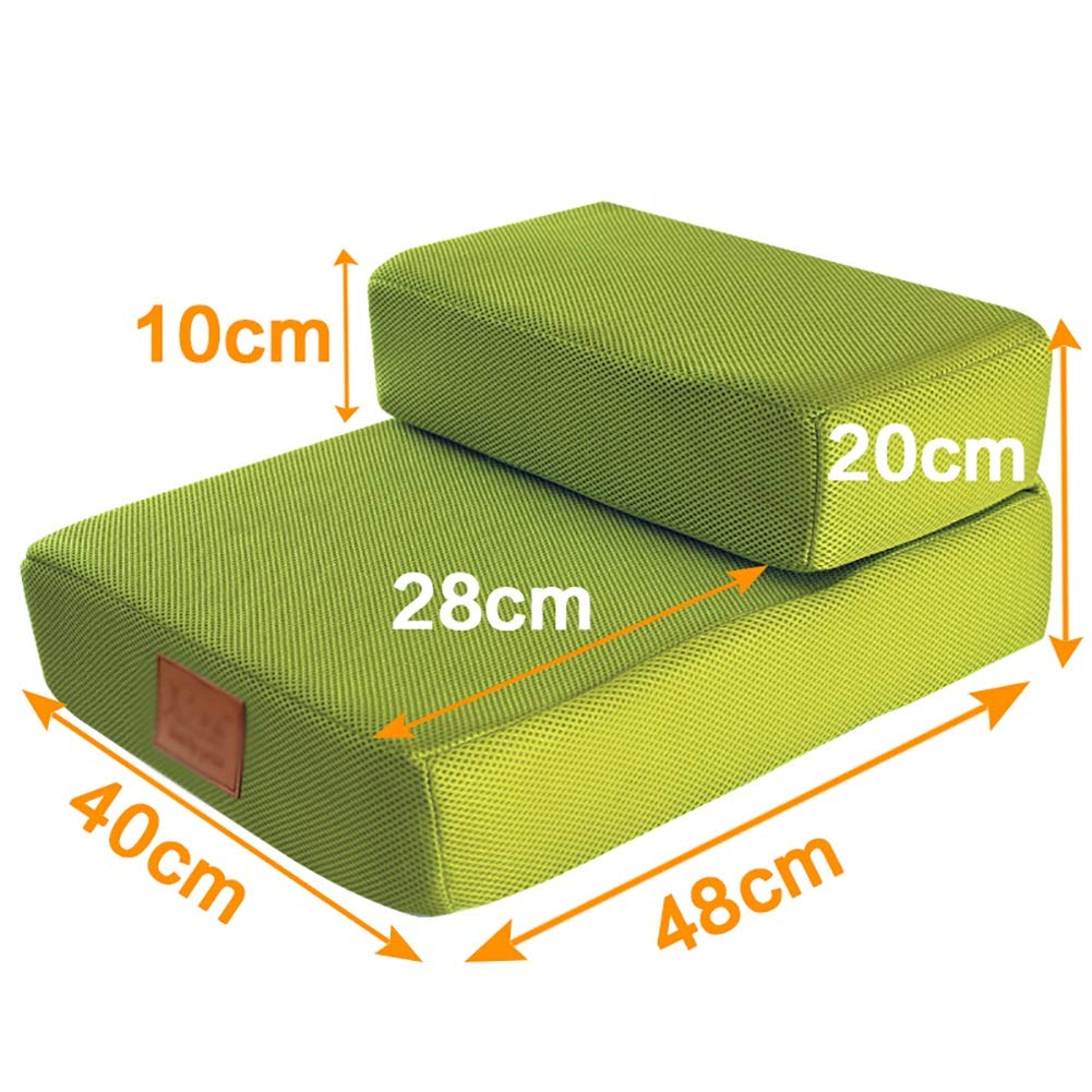 68 x40 x30cm NYDZDM Pet stairs Dog Climbing Bed Stairs Folding Training Stairs Two-story Pet Dog Ladder, Green (Size   68 x40 x30cm)